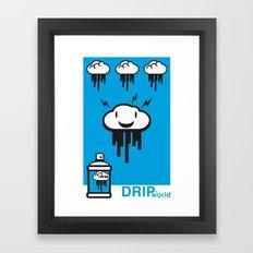 Drip World Blue Framed Art Print