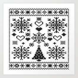 Christmas Cross Stitch Embroidery Sampler Black And White Art Print
