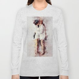 Watercolor Lesbian Couple Kissing Long Sleeve T-shirt