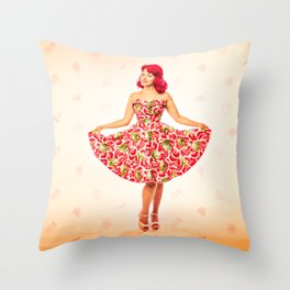 """Check Out These Melons"" - The Playful Pinup - Girl in Watermelon Dress by Maxwell H. Johnson Throw Pillow"