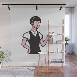 young female headset pointing Wall Mural
