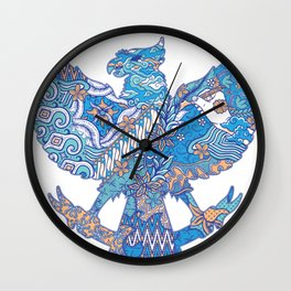 batik culture on garuda silhouette illustration Wall Clock