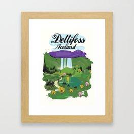 Dettifoss Icelandic holiday poster. Framed Art Print