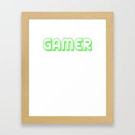 Video Game Gamer font green saying gift online Framed Art Print