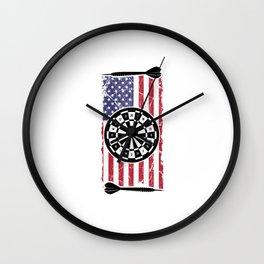 Proud American USA Flag Dart Player Gift Wall Clock