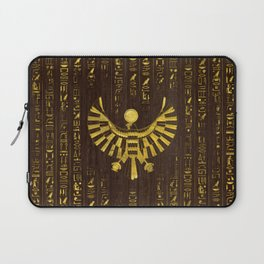 Golden Egyptian Horus Falcon and hieroglyphics on wood Laptop Sleeve