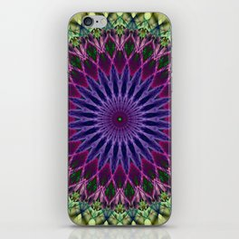 Colorful mandala with blue and pink petals ornament iPhone Skin
