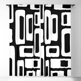 Retro Mid Century Modern Abstract Pattern 335 Black and White Blackout Curtain
