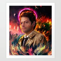 castiel Art Prints featuring Castiel by ururuty