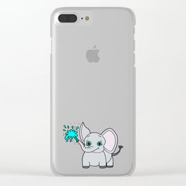 Lovely and funny elephant drawing Clear iPhone Case