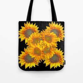 Golden Yellow Sunflowers on Black Color Tote Bag