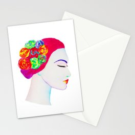 The Girl with the Flowers in her Hair Stationery Cards