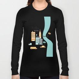 Hello New York - retro manhattan NYC icons illustration Long Sleeve T-shirt