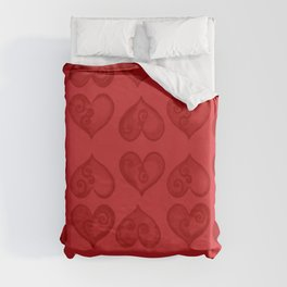 'Off With His Head Red Hearts Pattern' Wonderland styled design by Dark Decors Duvet Cover