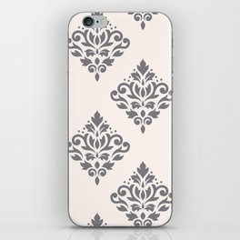 Scroll Damask Art I Grey on Cream iPhone Skin