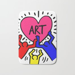 """Keith Haring inspired """"I Love Art"""" Primary Colors edition Bath Mat"""