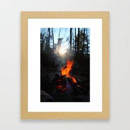 Vertically aligned fire Framed Art Print