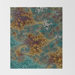 Marigold Garden - Fractal Art Throw Blanket