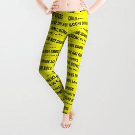 Crime Scene Tape Pattern Leggings