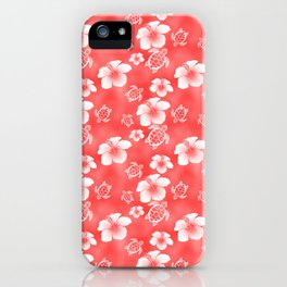 Red Hibiscus Honu Hawaiian Pattern iPhone Case