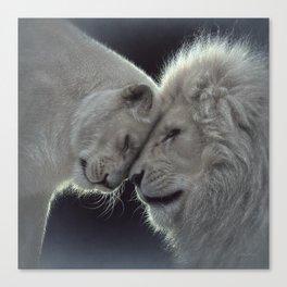 White Lion Love Canvas Print