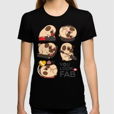 You Look Fab! -Puglie Black SMALL Womens Fitted Tee