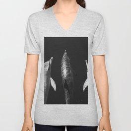 Beautiful wild dolphins black and white Unisex V-Neck