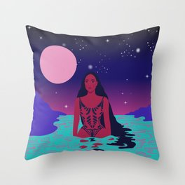 Galactica // Space, Galaxy, Pink, Purple, Water, Woman Throw Pillow