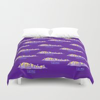 lakers Duvet Covers featuring LAKERS HAND-DRAWING DESIGN by SUNNY Design