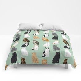 Cat breeds pattern kitty kittens cats tabby siamese white tortoiseshell Comforters