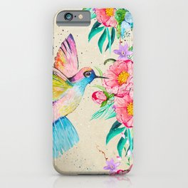 Whimsical watercolor hummingbird and  floral hand paint iPhone Case