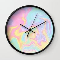 funky Wall Clocks featuring Funky by Pink Berry Patterns