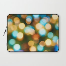 Abstract holiday Christmas background with blue and yellow Laptop Sleeve