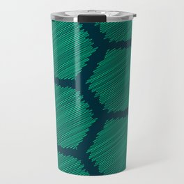 Green Scribbled Hexagon Geometric Pattern Travel Mug