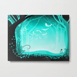 Dark Forest at Dawn in Aqua Metal Print