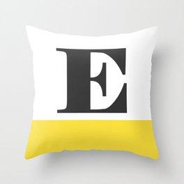 Monogram Letter E-Pantone-Buttercup Throw Pillow