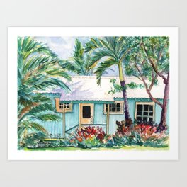 Tropical Vacation Cottage Art Print