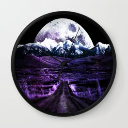 Highway to Eternity (moon mountain) violet Wall Clock