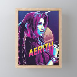 aerith final fantasy Framed Mini Art Print