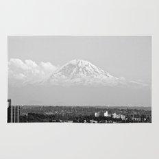 Hovering Mt Rainier in Mono Rug