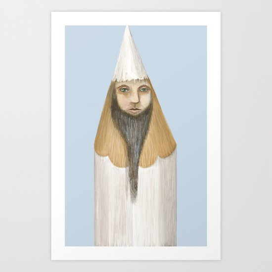 Pencil Head Art Print