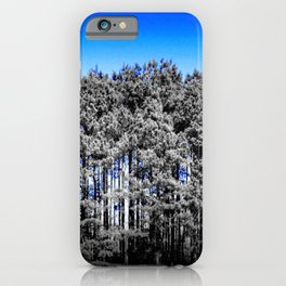 Gray Trees Electric Blue Sky iPhone Case