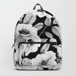 FLORAL GARDEN WATERCOLOR B/W Backpack