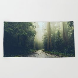 Redwood Forest Adventure - Nature Photography Beach Towel