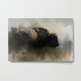 Abstract American Bison Metal Print