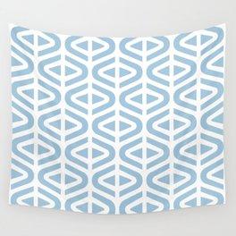 Mid Century Modern Split Triangle Pattern Pale Blue Wall Tapestry