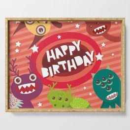 Happy birthday Funny monsters card Serving Tray