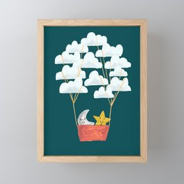 Hot cloud baloon - moon and star Framed Mini Art Print