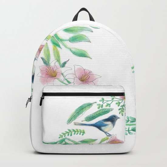 Happiness - Botanic bird water lily - Green, pink - Circle by angeliayinggexu120