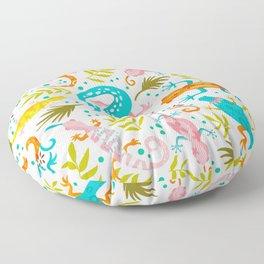 Lizard Party - colorful palette Floor Pillow